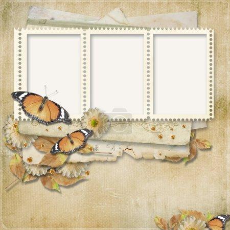 Photo pour Vintage fond avec timbre-cadre pour les félicitations et les invitations - image libre de droit