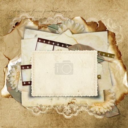 Photo pour Vintage fond avec carte et pellicule pour les félicitations et les invitations - image libre de droit
