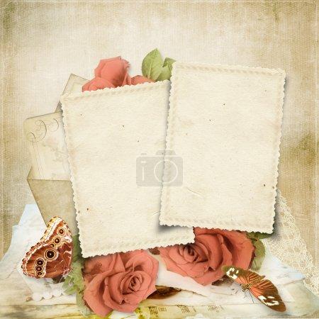 Photo pour Fond vintage avec carte et roses pour félicitations et invitations - image libre de droit