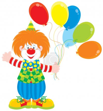 Illustration for Vector clip-art of a funny red circus clown holding colorful balloons and waving his hand in greeting - Royalty Free Image