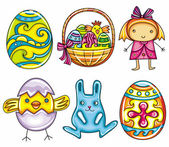Easter cartoon icon set part 1: Painted easter egg basket with easter eggs and chicken cute little girl newborn chick Easter bunny or rabbit decorative easter egg with cross pattern