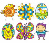 Easter cartoon icon set part 2