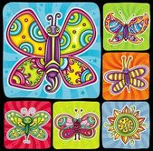 Beautiful cartoon colorful butterflies with open wings on bright swirly backgrounds Icons set for you designs