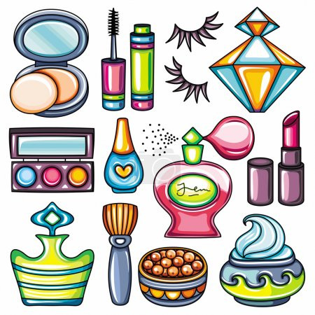 Vector make up, beauty and fashion supplies icons...
