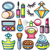 Vector make up beauty and fashion supplies icons