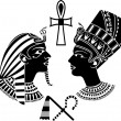Ancient egypt king and queen, pharaon stencil...
