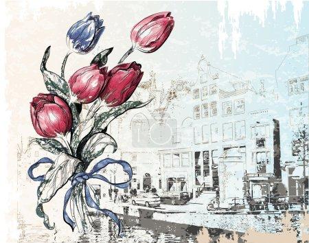 Illustration pour Illustration vintage de la rue Amsterdam et des tulipes. Style aquarelle . - image libre de droit