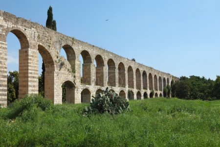 Perfectly kept Roman antique aqueduct on a green g...
