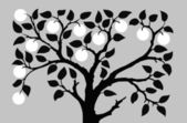 silhouette to aple trees on gray background vector illustration