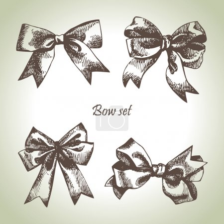 Illustration for Set of bow. Hand drawn illustrations of ribbons - Royalty Free Image