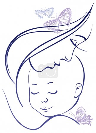Illustration pour Mère et bébé - image libre de droit
