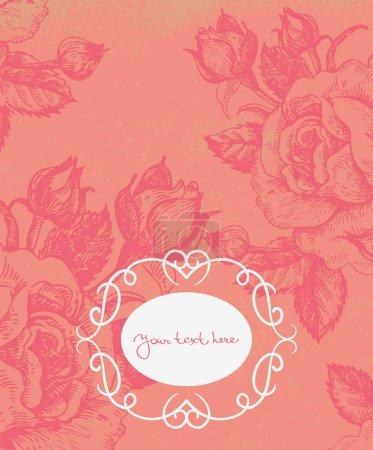 Illustration for Floral background with vintage frame - Royalty Free Image