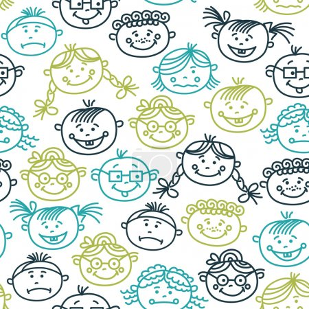 Illustration for Seamless pattern of baby cartoon faces - Royalty Free Image