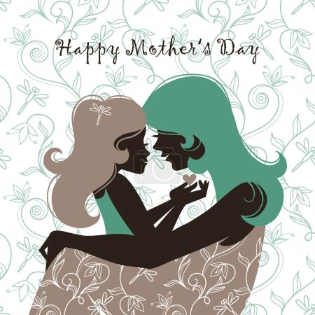Card of Happy Mother's Day. Beautiful mother silhouette with h