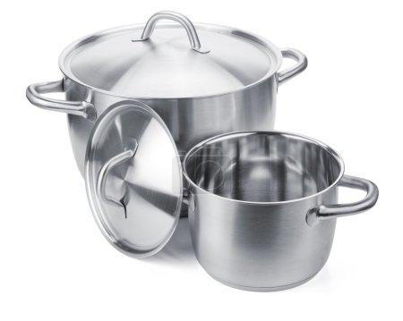 Photo pour Deux pots en acier inoxydable. Isolé sur fond blanc - image libre de droit