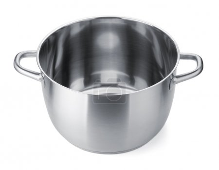 Photo pour Pot en acier inoxydable sans couvercle. Isolé sur fond blanc - image libre de droit