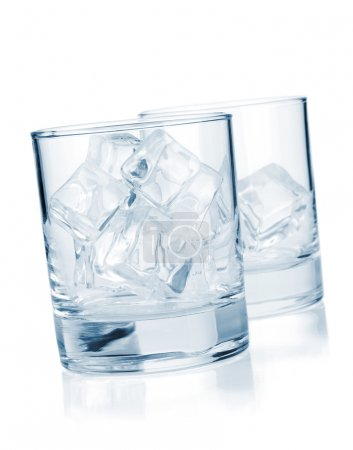 Glasses with ice cubes