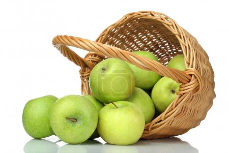 Basket of green apples on white background
