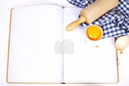 Photo for Open notebook and Basic baking ingredients (with space for text) - Royalty Free Image