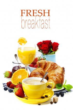 Photo for Breakfast with croissants, coffee and orange juice (with easy removable text) - Royalty Free Image
