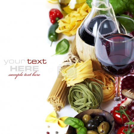 Photo for Italian food and wine. Ingredients for cooking (pasta, tomatoe, garlic, pepper, mushroom, bay leaves, olives, olive oil, basil) over white (with easy removable - Royalty Free Image
