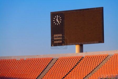 Scoreboard and bleachers