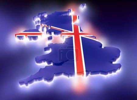 Photo pour Carte du Royaume-Uni avec lumière - image libre de droit