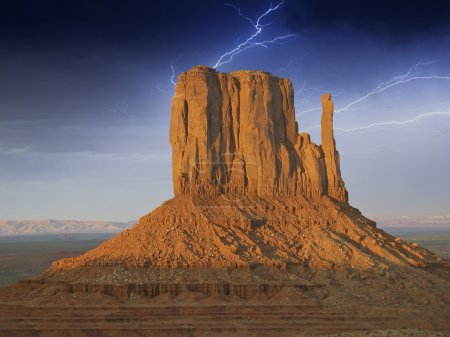 Storm approaching Monument Valley