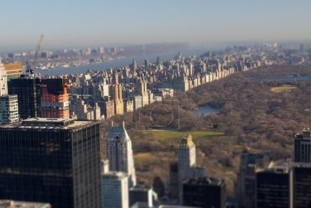 Tilt Shift view of Central Park in Winter