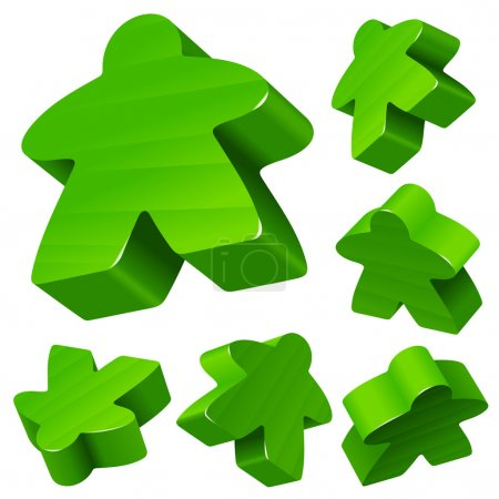 Green wooden Meeple vector set isolated on white. Symbol of family board games.