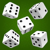 White rolling dice set Vector icon
