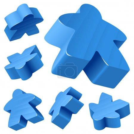 Blue wooden Meeple vector set isolated on white.