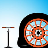Flat tyre abstract vector art illustration; image contains transparency