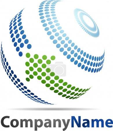 Illustration pour Logo abstrait de sphère 3D - image libre de droit