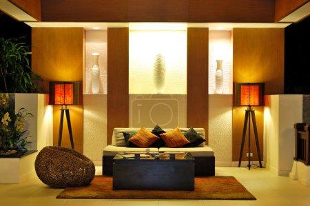 Modern lobby interior in night illumination, Phuket, Thailand
