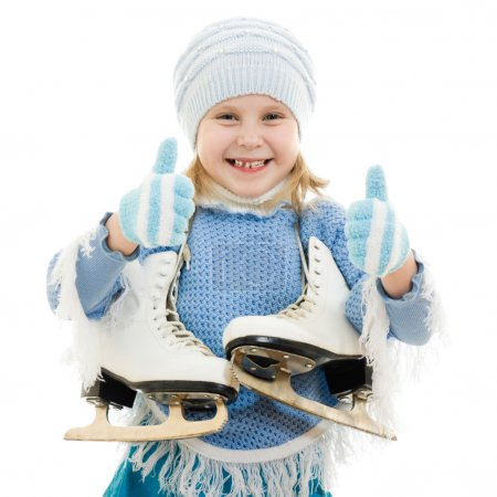 Happy girl with skates on white background.