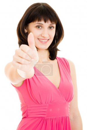 A woman shows a gesture okay on a white background.