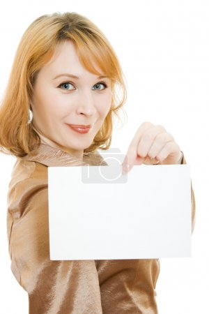 Happy woman showing blank signboard, isolated over white background