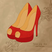 A high-heeled vintage shoes with flowers fabric High heels background with place for you text