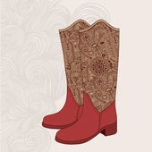 Vintage boots with floral fabric Cowboy boot with flowers ornam