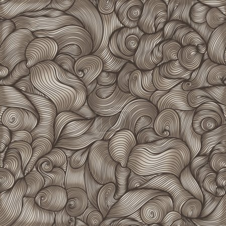 Illustration for Seamless abstract hand-drawn pattern, waves background. Abstract hand-drawn pattern, waves background. Seamless pattern can be used for wallpaper, pattern fills, web page background, surface textures. - Royalty Free Image