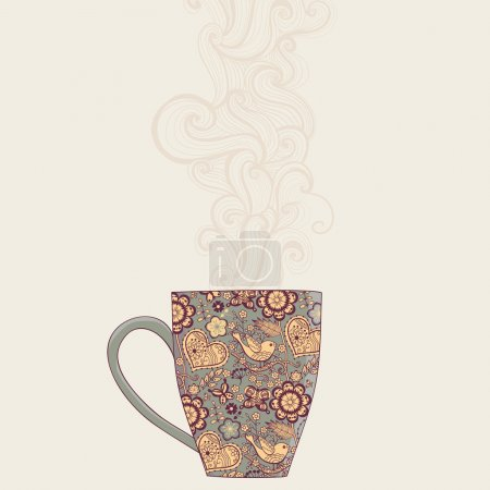 Coffee and tea mug with floral pattern. Cup background. Hot drin
