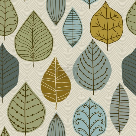 Illustration pour Un motif sans couture avec feuille, fond de feuille d'automne - image libre de droit