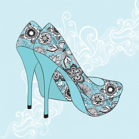 Illustration for A high-heeled vintage shoes with flowers fabric. High heels background with place for you text - Royalty Free Image