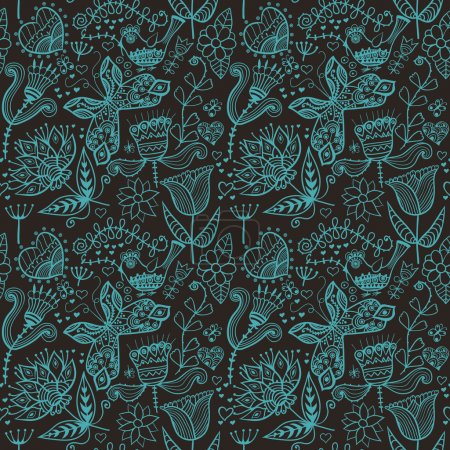 Floral seamless pattern, endless texture with flowers. Vector ba