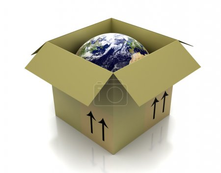 Photo for Globe in an open cardboard box - Royalty Free Image