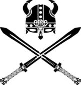 Viking helmet and swords