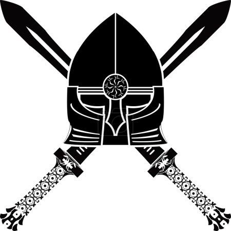 Illustration pour Casque médiéval et épées. illustration vectorielle - image libre de droit