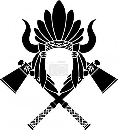 Illustration pour Coiffure indienne et tomahawks. Au pochoir. illustration vectorielle - image libre de droit