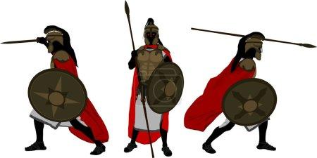 Ancient warriors. vector illustration for design...